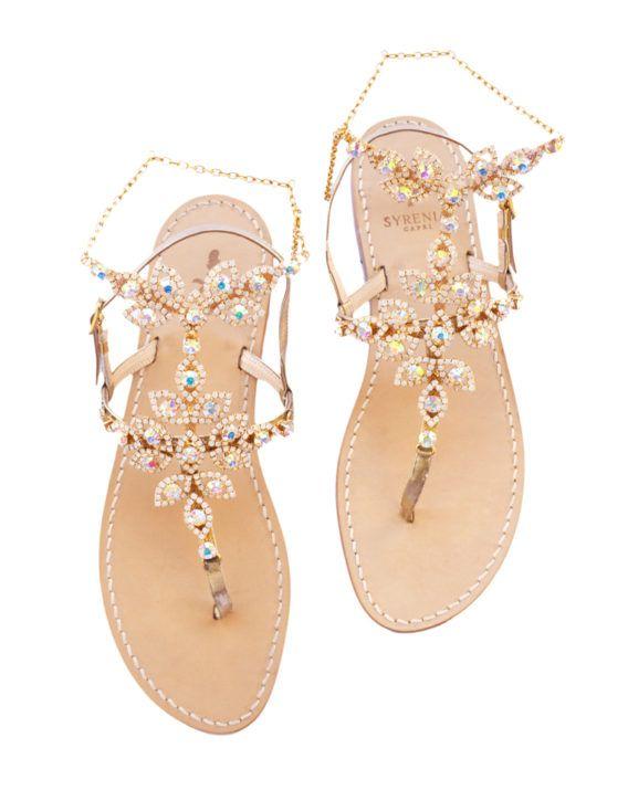 Sandalo caprese cavigliera gioiello bianco - oro - sandali da sposa - collezione wedding - capri style