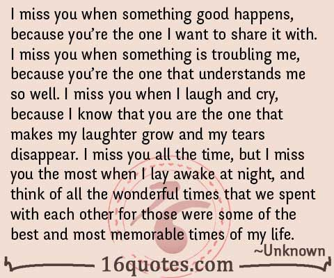 i miss you quotes | miss you when something good happens because you re the one i want ...