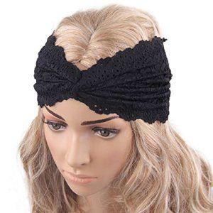 Malloom Bandeau – femmes chapellerie torsion du sport dentelle yoga bandeau turban foulard wrap ( Noir): Tweet Paquet 1 x Bandeau Très…