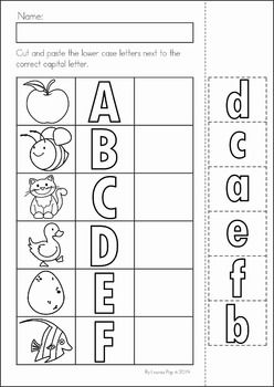 Back to School Math & Literacy Worksheets and Activities No Prep. Lower case and upper case letter match cut and paste.