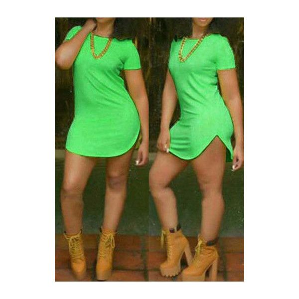Short Sleeve Neon Green Side Slit Dress ($15) ❤ liked on Polyvore featuring dresses, green, sexy dresses, sexy green dresses, pattern dress, sleeved dresses and short-sleeve dresses
