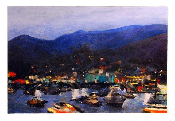 Pastel Painting of Catalina Island at Night by joedero on Etsy, $185.00