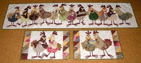 """""""Hens' Party"""" applique placemats and runner."""