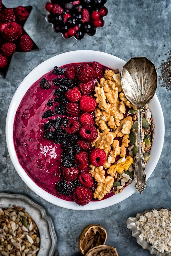 Mixed berry smoothie bowl.