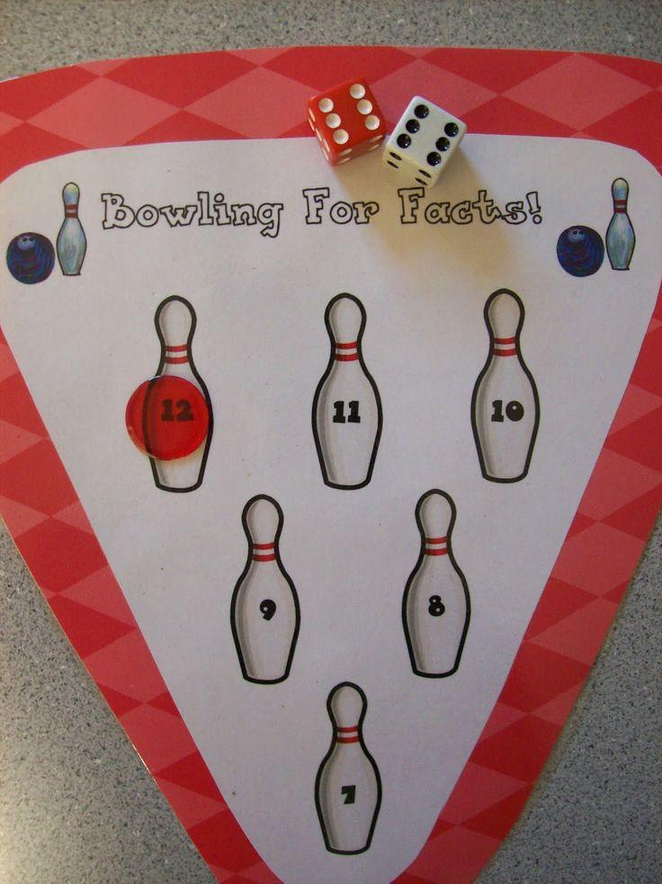 Bowling for math facts. Great math center idea