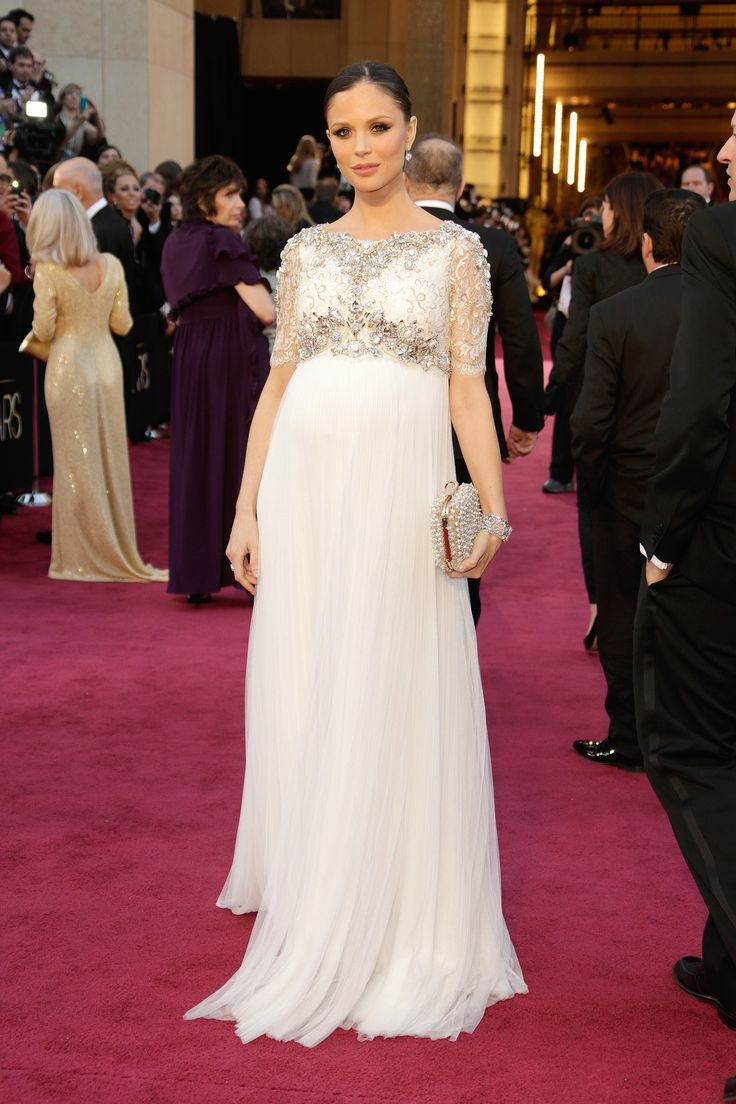 Last year, an eight-months-pregnant Georgina Chapman walked the Oscars red carpet in a floor-length dress with a jewel-encrusted bolero of her own Marchesa design.