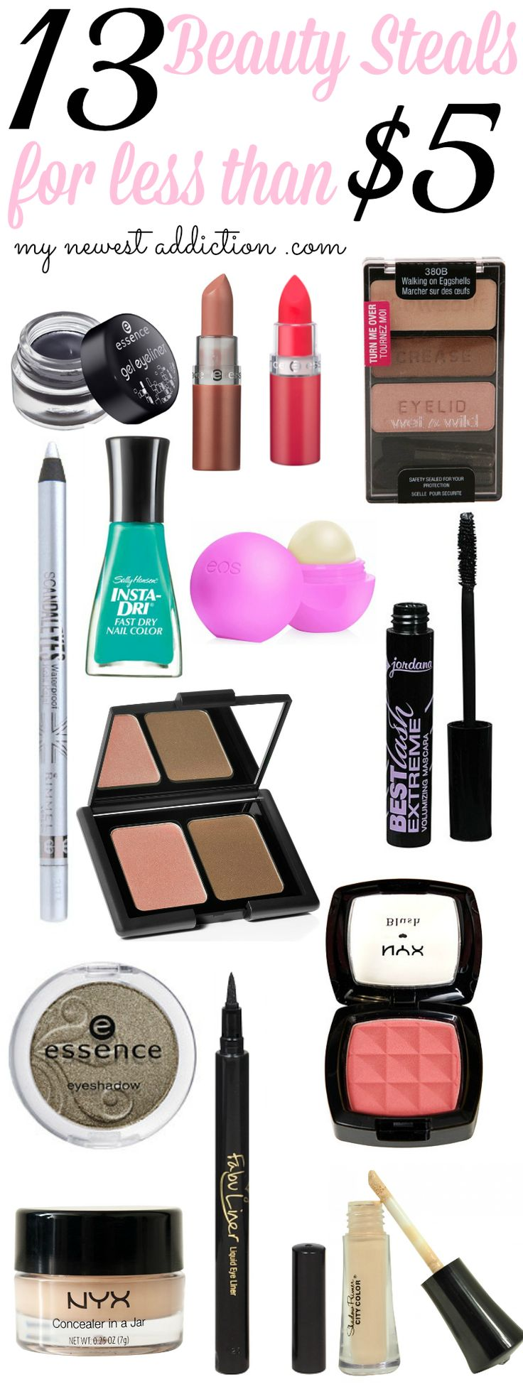 Beauty Steals Under $5 - My Newest Addiction Beauty Blog #beautysteals #mynewestaddiction #drugstorebeauty