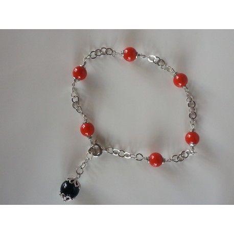 Bracciale catenina argento 925 rodiato, corallo rosso bamboo e agata nera