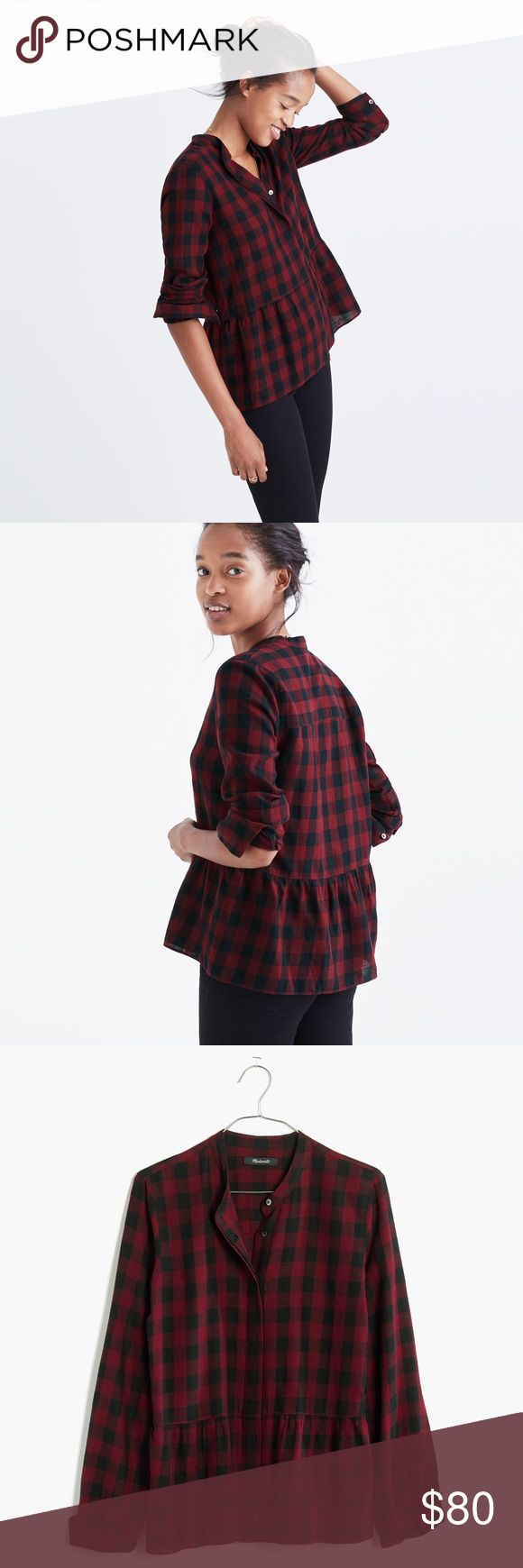 Coming soon   Madewell   Lakeside Peplum Shirt Price adjust when arrives. Arrive date Jan 23rd. Let me know if you want me to tag you in when it here. Thank you 😊   Equal parts tomboy and lady, this gauzy button-down has a low-key peplum thing happening. Work, weekend—this buffalo-check shirt can do it all.  - True to size. - Cotton. - Machine wash. Madewell Tops Button Down Shirts