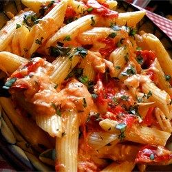 Tomato Basil Penne Pasta. Good go-to! The cheese/tomato proportions are a little weird. It takes some back/forth to get it right.