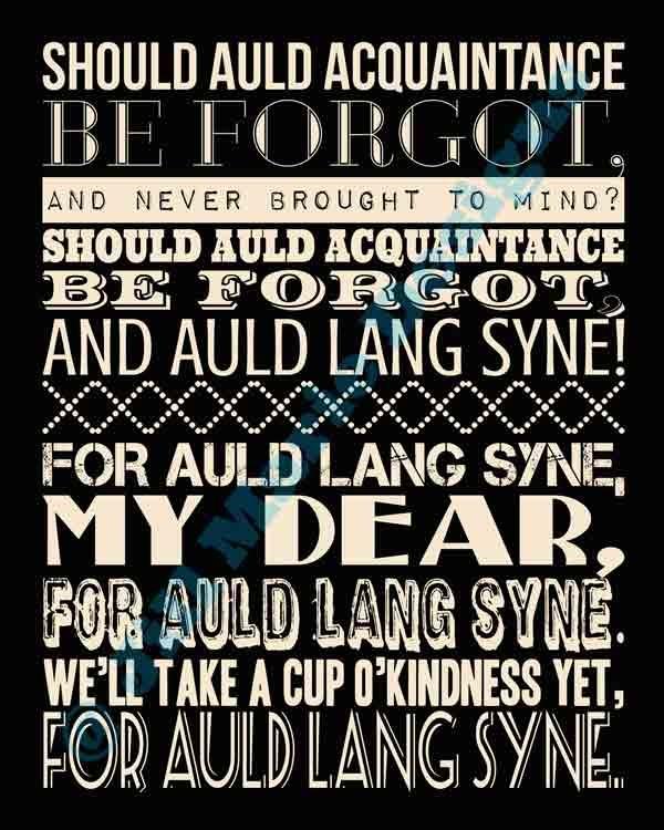Printable Auld Lang Syne lyrics for New Year's Eve. Auld