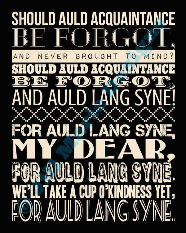 Printable Auld Lang Syne lyrics for New Year's Eve.