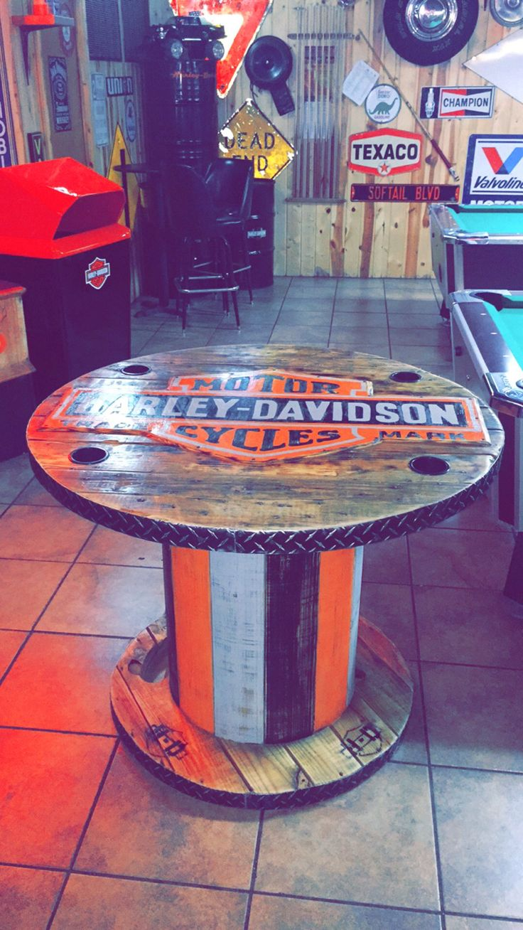 Large wooden spools for crafts - Harleydavidson Spool Table At Rollie S