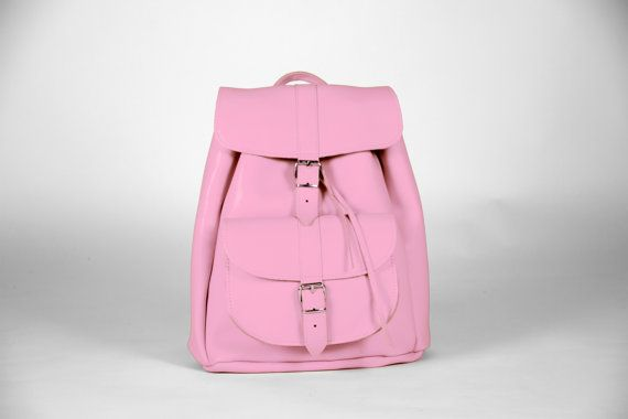 Handmade Pink Leather Backpack LARGE one pocket by MagusLeather, €128.00