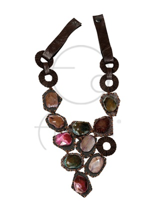 Akik taşlı deri kolye / Leather necklace with agate stones