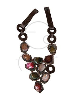 Akik taşlı deri kolye / Leather necklace with agate stones