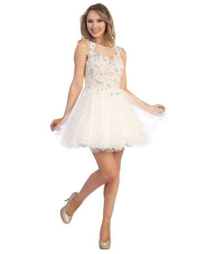 Off white short formal dresses
