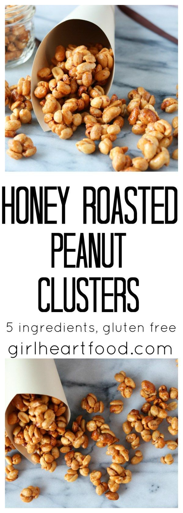 Five ingredients and only 15 minutes and you're on your way to one delicious snack with these honey roasted peanut clusters {gluten free} - girlheartfood.com