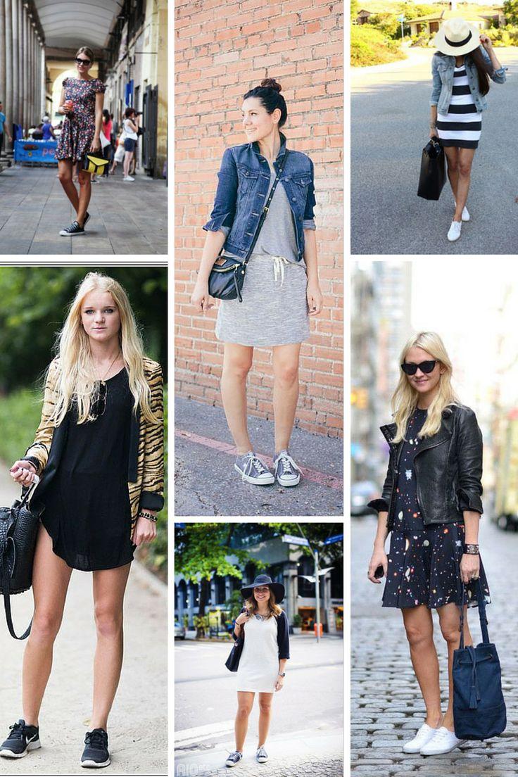 Tendência como usar vestido com tênis http//www.sapatilhashop.com