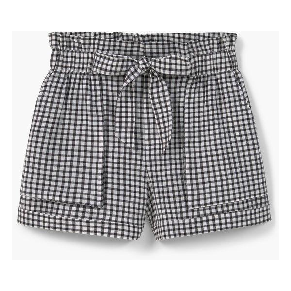 MANGO Check Shorts ($23) ❤ liked on Polyvore featuring shorts, bottoms, pants, short, mango shorts, checkered shorts, short shorts, elastic waist shorts and elastic waistband shorts