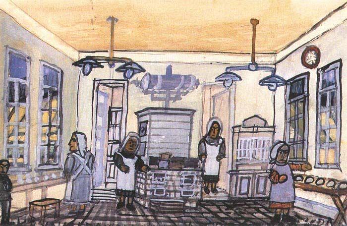 Krynicki Nikifor (Poland, 1895 - 1968) «In a Kitchen»