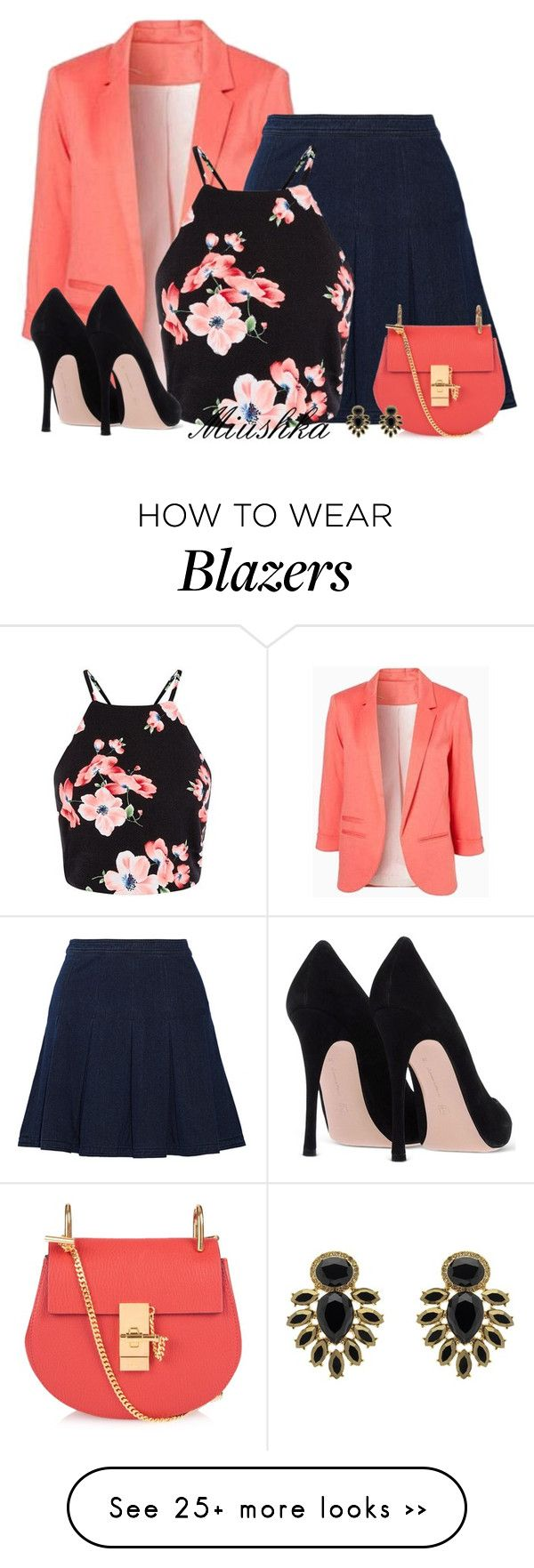 """""""Denim Skirt & Blazer"""" by miushka on Polyvore featuring Diane Von Furstenberg, Chloé and Monet"""