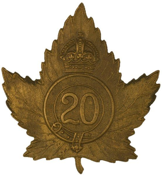 """CEF - Cap Badge - 20th Canadian Infantry Battalion - """"1st Central Ontario Regiment"""" - Toronto, Ontario. The Maple Leaf motif comprised about 60% of the 260 CEF battalion cap badge designs. WW1."""