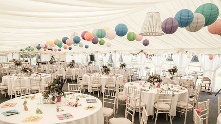 Beautifully decorated winter wedding reception. You can use paper lanterns in different colors to get this look