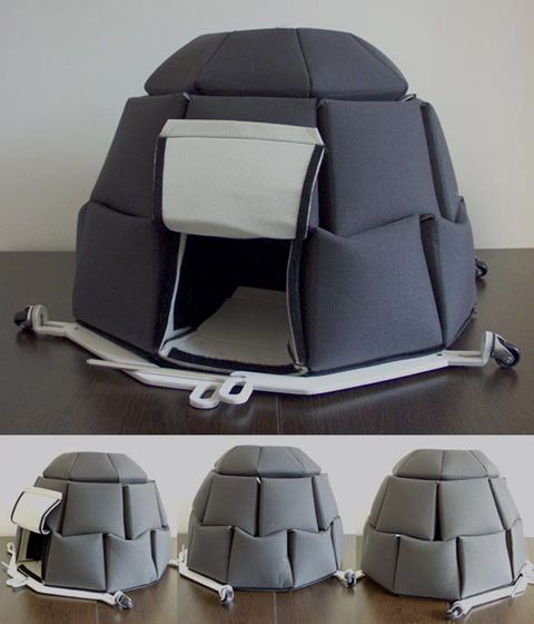 Bulgarian designer Georgi Djongarski makes an unique tent for homeless people. Called I-gloobox, It is made of thick fabric, which is connected together with a band attached to the aluminum of folding. I-gloobox is effective to ward off the cold during winter, and easy to maintenance.