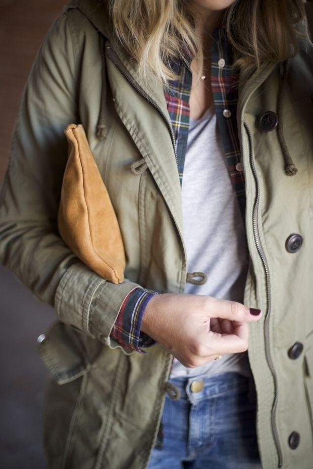 Emily Schuman is wearing khaki jacket from Gap
