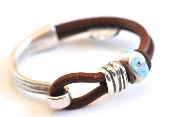 Warm Brown Leather Bracelet with SRA Organic by gailjoseph on Etsy, $35.00