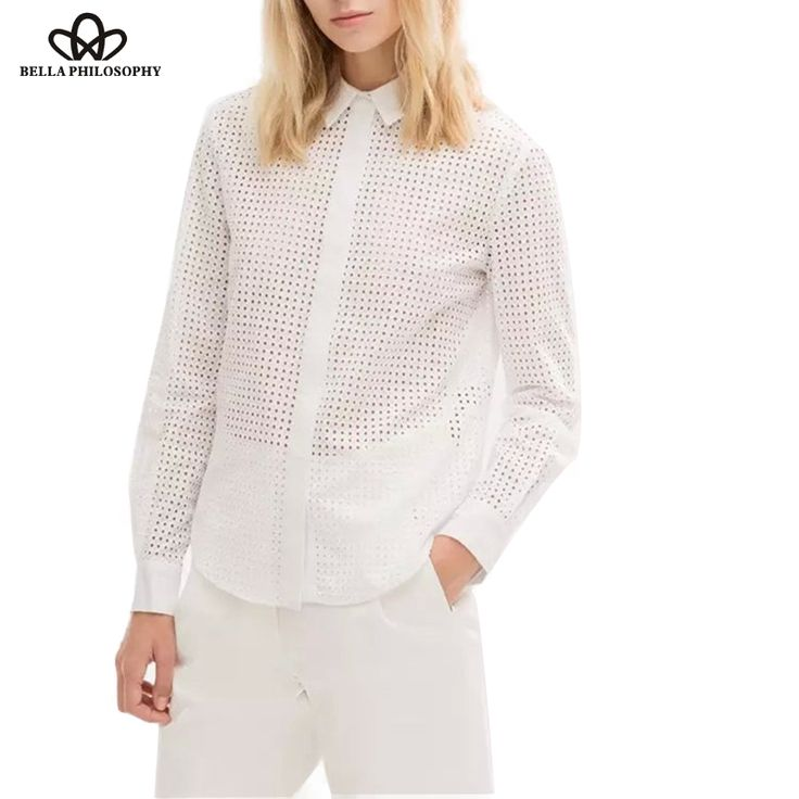 Aliexpress.com : Buy Bella Philosophy 2016 new women's elegant pure cotton embroidery hollow out blouse shirts white long sleeve from Reliable blouse sweater suppliers on Bella Philosophy
