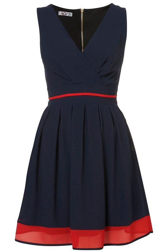 Navy blue sleeveless with red hem.