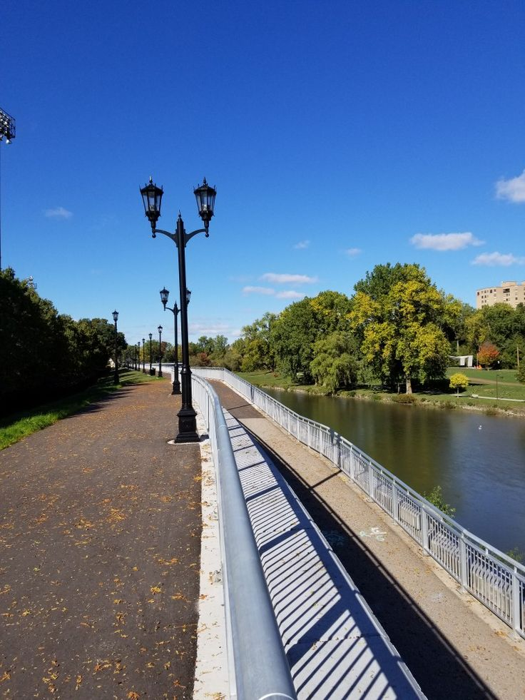 Elevated pathway along the Thames River, London Ontario in Canada