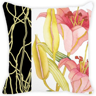 Leaf Designs Black Band And Multicoloured Floral Cushion Cover Cushion Covers on Shimply.com