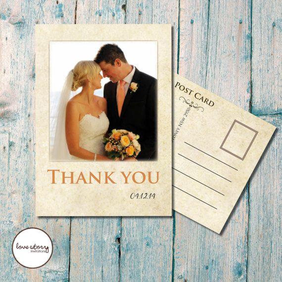 Vintage Thank You Card Polaroid Rustic Wedding DIY Printable Printed
