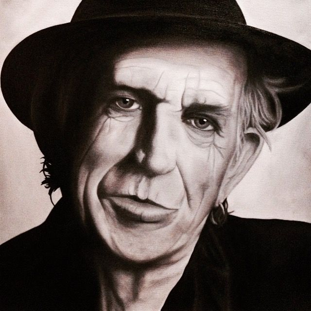 Oil painting of Keith Richards, 50 x 50 cm, 2016 Mirjam Kämmerer
