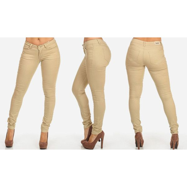 Women's ModaXpressOnline.com Stretchy Color Skinny Jeans Style (1.125 RUB) ❤ liked on Polyvore featuring jeans, beige, cut skinny jeans, stretch jeans, denim jeans, skinny leg jeans and stretch denim skinny jeans