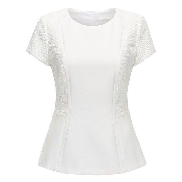 Paneled Peplum Top Idama ($285) ❤ liked on Polyvore featuring tops, white peplum top, peplum top and white top
