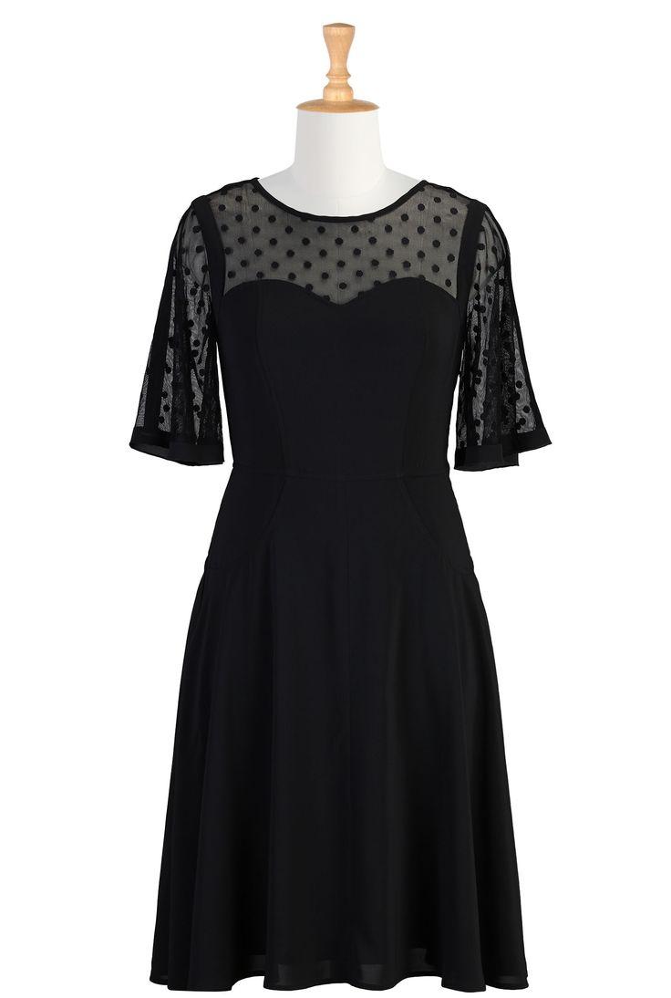 Illusion Yoke Crepe Dresses, Little Black Dress Shop Online Womens Designer Dresses | Sundresses | Women's Sundresses | Plus Size Sundresses | Petite Sundresses | | eShakti.com