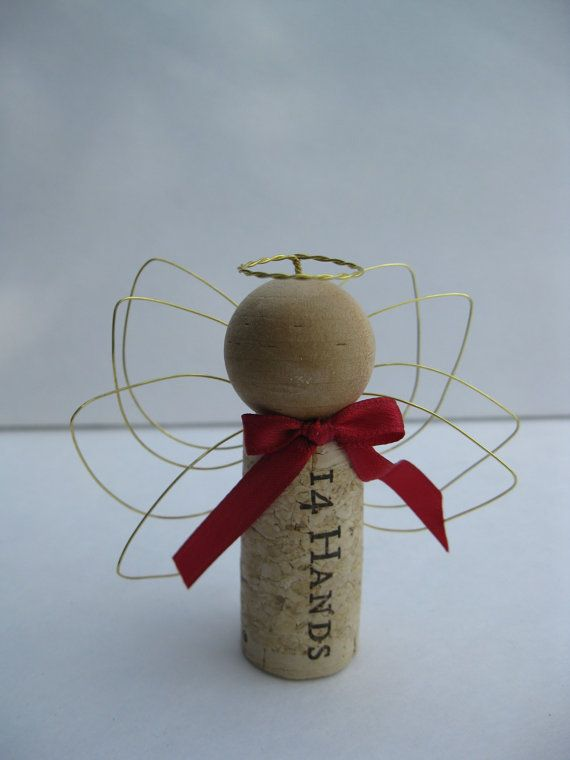 Wine Cork Wire Winged Angel Christmas by PineywoodsPickle on Etsy, $5.99