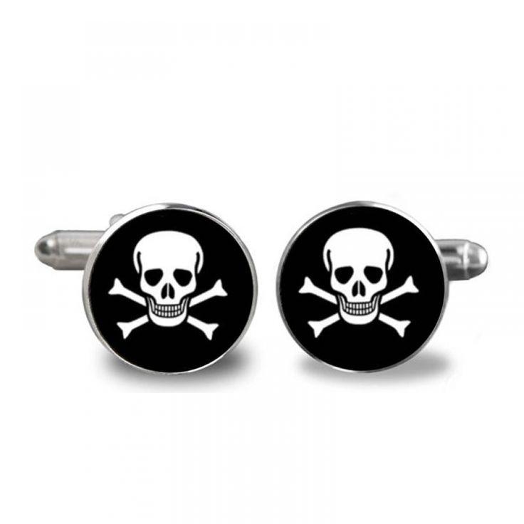 2017 New Skull Pirate Cufflinks Groomsmen Cufflink Round Photo Jewelry Black White Skull Cuff Gift for Boys Fashion – Men's Cufflink