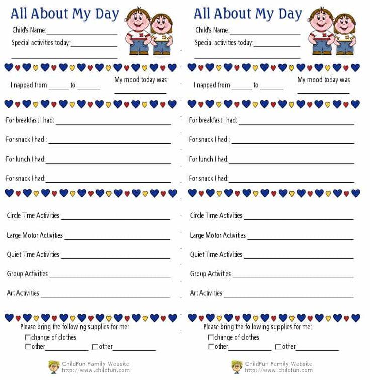 preschool-daily-report Daycare stuff Pinterest Preschool daily