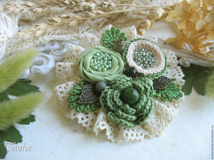 """Купить """"Молодая листва"""" бохо брошь зеленая цветок салатовый - броши, брошь натуральные камни boho chic boho jewelry boho brooch brooch textile"""