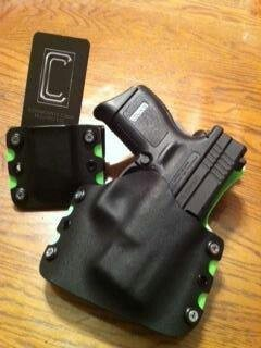 Black on zombie green, serrated edges, stainless screws for Springfield xd 9/40 subcompact. www.conservativecreek.com