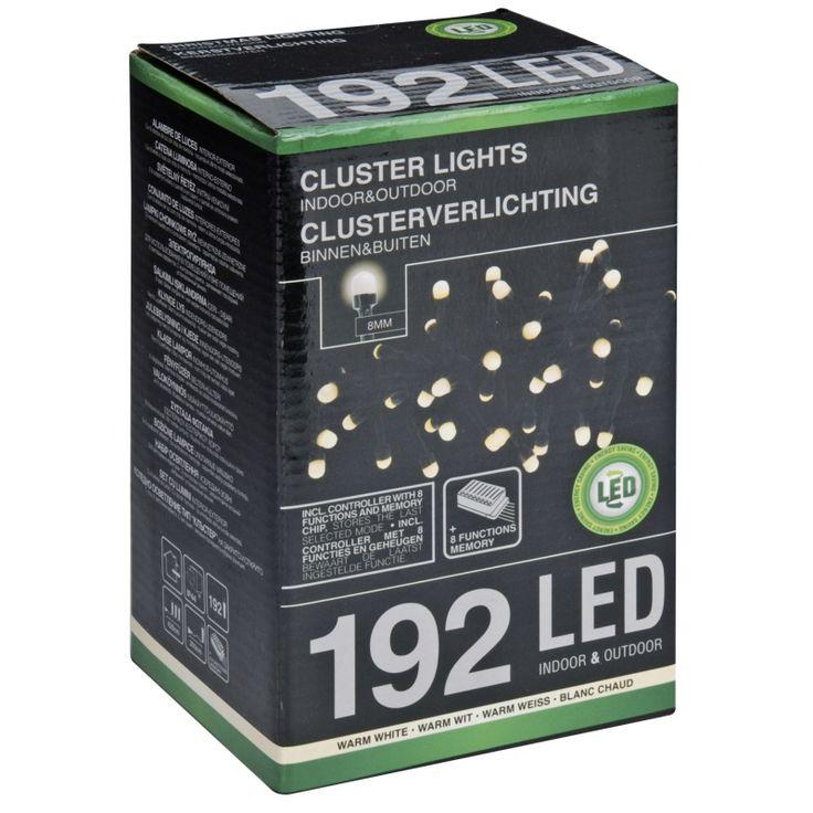 Kerstverlicht cluster warm wit 192 led  Clusterverlichting warm wit met 192 LED lapjes. Deze kerstverlichting beschikt over 8 verschillende licht functies. Lengte: ongeveer 42 m waarvan 3 meter aanloopsnoer. Geschikt voor binnen en buiten.  EUR 20.95  Meer informatie