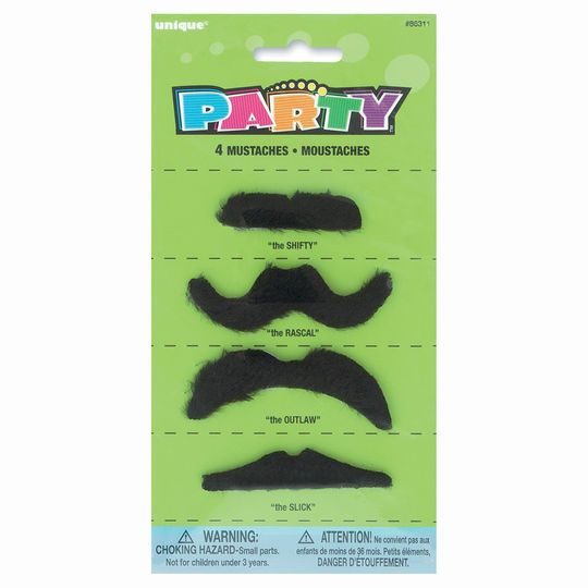 Fake Mustache Party Favors, 4ct