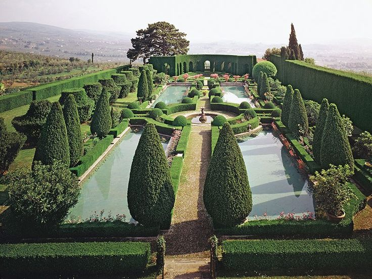 Spectacular landscapes, from Doris Duke's Hawaiian Shangri-la to the Villa Gamberaia in Settignano, Italy (shown here), inform Williams's detailed directives on pots, parterres, pergolas, and other important structural elements.