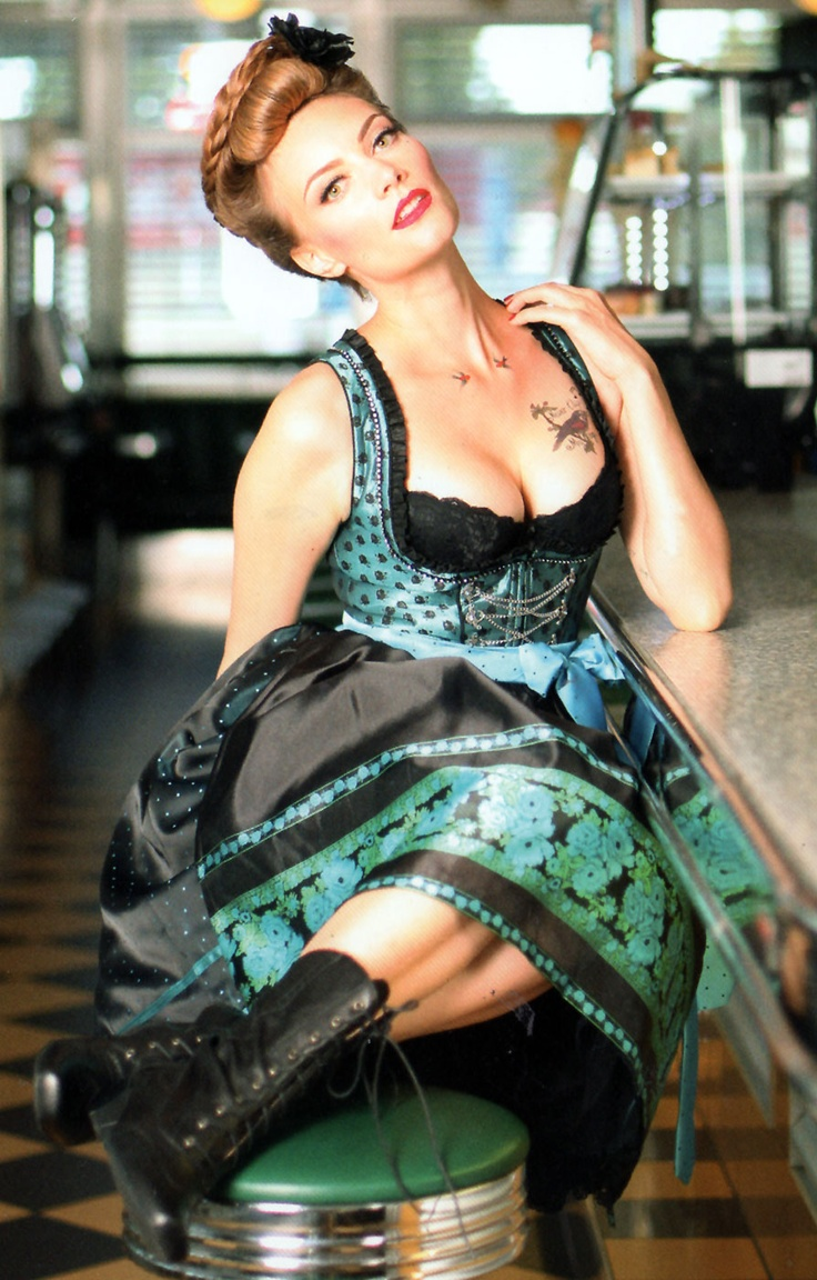 Traditional Mid Length DIRNDL 3pc. Foxy turquoise 60cm