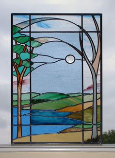 "Carsington Water Landscape , 23"" x 40"", private commission, October 2003. Made with English Antique, Verrerie de Saint-Just antique, Spectrum waterglass and Kokomo cathedral."